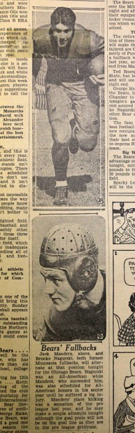 Photos of the Chicago Bears' fullbacks Jack Manders, top, and Bronko Nagurski run with a preview story for an exhibition football game against the La Crosse Old Style Lagers exhibition football game Sept. 12, 1934, in Winona. (The Winona Republican Herald)
