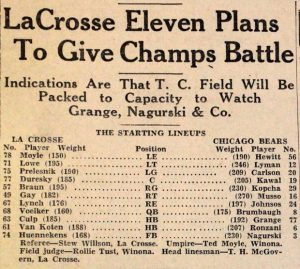 The starting lineup from the Chicago Bears and La Crosse Old Style Lagers exhibition football game Sept. 12, 1934, in Winona. (The Winona Republican Herald)