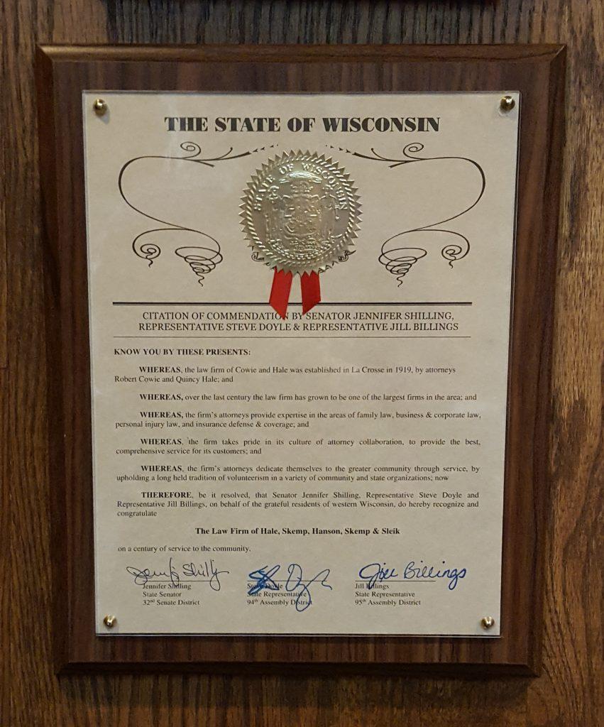 Citation of Commendation for Hale, Skemp, Hanson, Skemp & Sleik